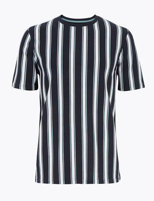 Marks and Spencer Pure Cotton Vertical Striped Pique T-Shirt