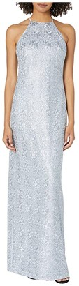 Halston Fitted Embroidered Gown (Breeze) Women's Clothing