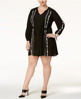 Jessica Simpson Trendy Plus Size Arielle Embroidered A-Line Dress