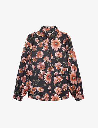 The Kooples Floral-print satin shirt