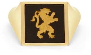 Wedgwood Ferian Ceramic Lion & Gold Signet Ring - Womens - Black