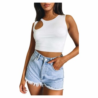 Sokmoop Women's Cami Top Strappy Crop Tank Tops Hollow Out Sleeveless Halter Camisole T-Shirt Tee Shirt Vest Garment Tankini Sling Blouse Clubwear Rompers Spaghetti Lingerie Bodysuit(White XL)