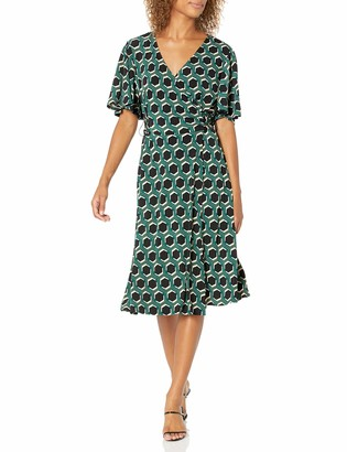 Donna Morgan Women's Plus Size Flutter Sleeve Faux Wrap Printed Matte Jersey Dress