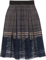 Self-Portrait Sofia Pleated Guipure Lace Skirt - Navy