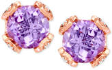 LeVian Le Vian Chocolatier® Pink Amethyst (3-5/8 ct. t.w.) and Diamond (1/5 ct. t.w.) Stud Earrings in 14k Rose Gold