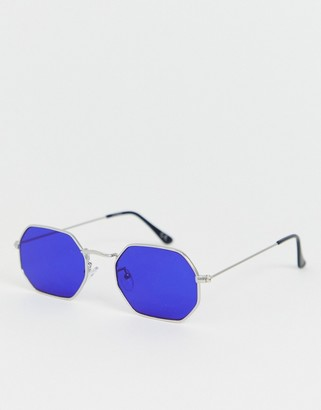 Design DESIGN metal angled sunglasses in silver with blue lens