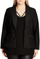 City Chic Pinstripe Ponte Jacket