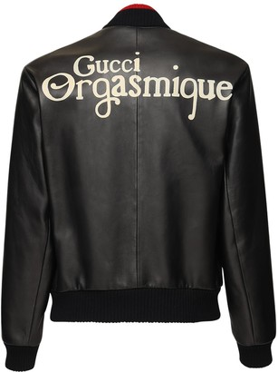 Gucci Orgasmique Soft Leather Bomber Jacket