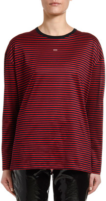No.21 Striped Long-Sleeve Logo Tee