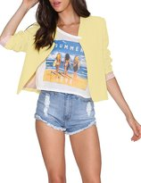 Haoduoyi Womens Casual Candy Color Slim Open Front Crop Blazer Jacket(M,)