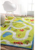nuLoom Contemporary Kids Country Road Trip Green Rug (5' x 8')
