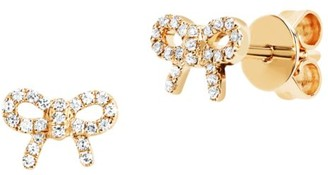 Ef Collection 14K Yellow Gold & Diamond Bow Stud Earrings