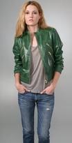 Breck Leather Bomber Jacket