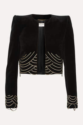 Saint Laurent Cropped Chain-embellished Cotton-velvet Blazer - Black