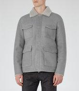 Reiss Reiss Revalstoke - Shearling Jacket In White, Mens