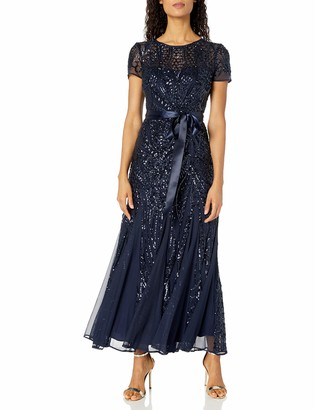 R & M Richards R&M Richards Women's One Piece Short Sleeve Embelished Sequins Gown