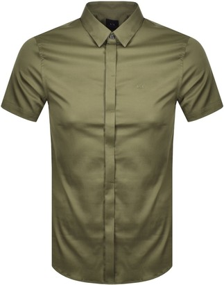 Armani Exchange Slim Fit Short Sleeved Shirt Green