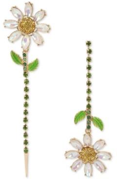 Betsey Johnson Gold-Tone Crystal Daisy Mismatch Linear Drop Earrings