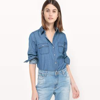 La Redoute Collections Long-Sleeved Denim Shirt with Breast Pockets