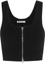Alexander Wang Cropped ribbed-knit cotton-blend top