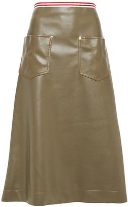 Stella Jean Flared Faux Leather Midi Skirt