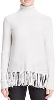Aqua Cashmere Fringe Trim Turtleneck Cashmere Sweater - 100% Exclusive