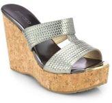 Jimmy Choo Porter Mirror Leather Cork Wedge Sandals