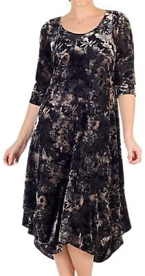chesca Chesca Velvet Devoree Dress, Black/Oyster
