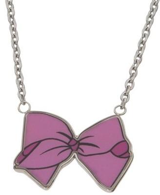 "Nickelodeon Jojo Siwa Stainless Steel Pink Bow Necklace, 16"" +2"""