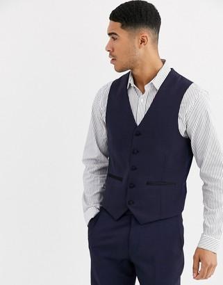 Harry Brown Slim 50% Wool Split Lapel Navy Dinner Waistcoat-Black