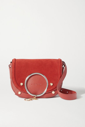 See by Chloe Mara Embellished Suede And Leather Shoulder Bag - Red