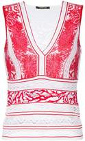 Roberto Cavalli plunge neck embroidered panel top