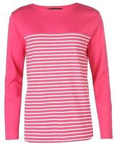 Full Circle Womens Stripe Rib Top T Shirt Long Sleeve Round Neck Cotton Pattern