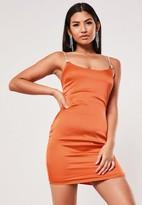 Missguided Orange Stretch Satin Diamante Strap Mini Dress