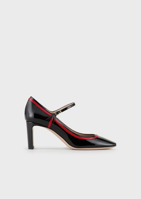 Giorgio Armani Patent Leather Mary Janes With Graphic Design Details