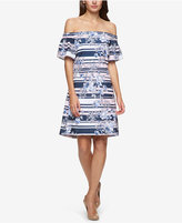 Jessica Simpson Printed Off-The-Shoulder A-Line Dress