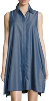 Neiman Marcus Pinstriped Chambray Trapeze Dress, Blue