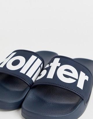 Hollister large logo sliders in navy