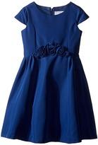 Us Angels Silk Taffeta Cap Sleeve Dress w/ Flower Trim (Toddler/Little Kids)