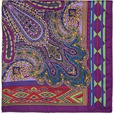 Etro Men's Paisley & Geometric-Print Silk Twill Pocket Square-PURPLE