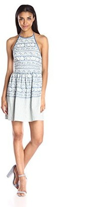Taylor & Sage Women's Printed Denim Halter Dress