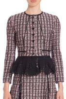 Oscar de la Renta Tweed Crochet Peplum Jacket