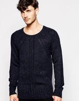 Antony Morato Textured Wool Jumper In Nep Yarn - Blue