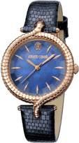 Roberto Cavalli Women's RV1L012L0036 Rose-Gold IP Steel Leather Wristwatch