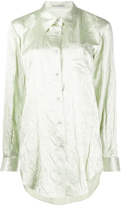 Acne Studios Floral-Embossed Satin Shirt