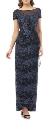JS Collections Drape Lace Column Gown