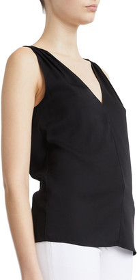 Theory Ruched V-Neck Sleeveless Top
