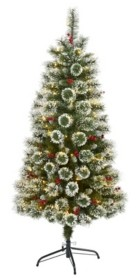 Nearly Natural Frosted Swiss Pine Artificial Christmas Tree with 200 Clear Led Lights and Berries