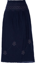 Current/Elliott The Rancher Smocked Embroidered Cotton Midi Skirt