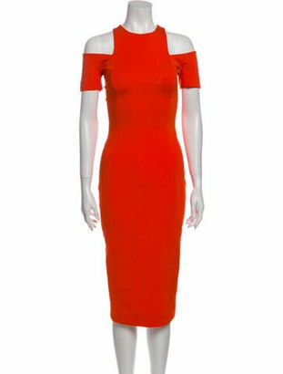 Victoria Beckham Crew Neck Midi Length Dress w/ Tags Orange
